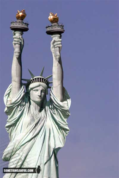 torches of liberty. Liberty with two torches.