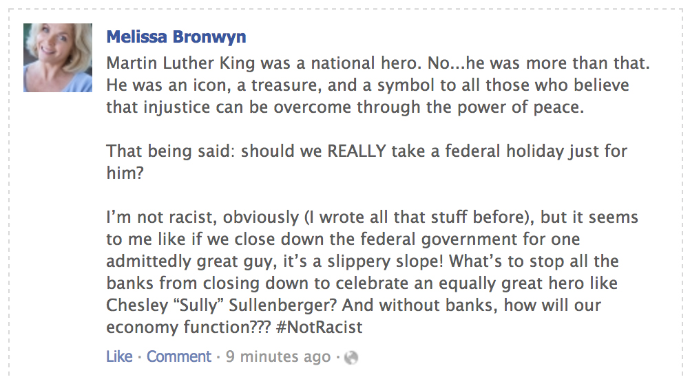 posts about mlk day from your moms facebook friends who arent racist