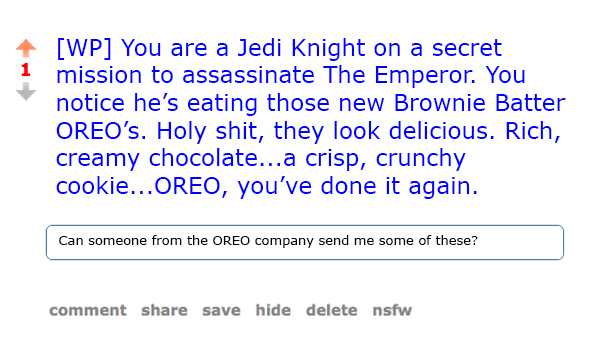 Reddit's /r/writingprompts is filled with things redditors truly care ...
