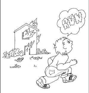 burning house coloring page gallery